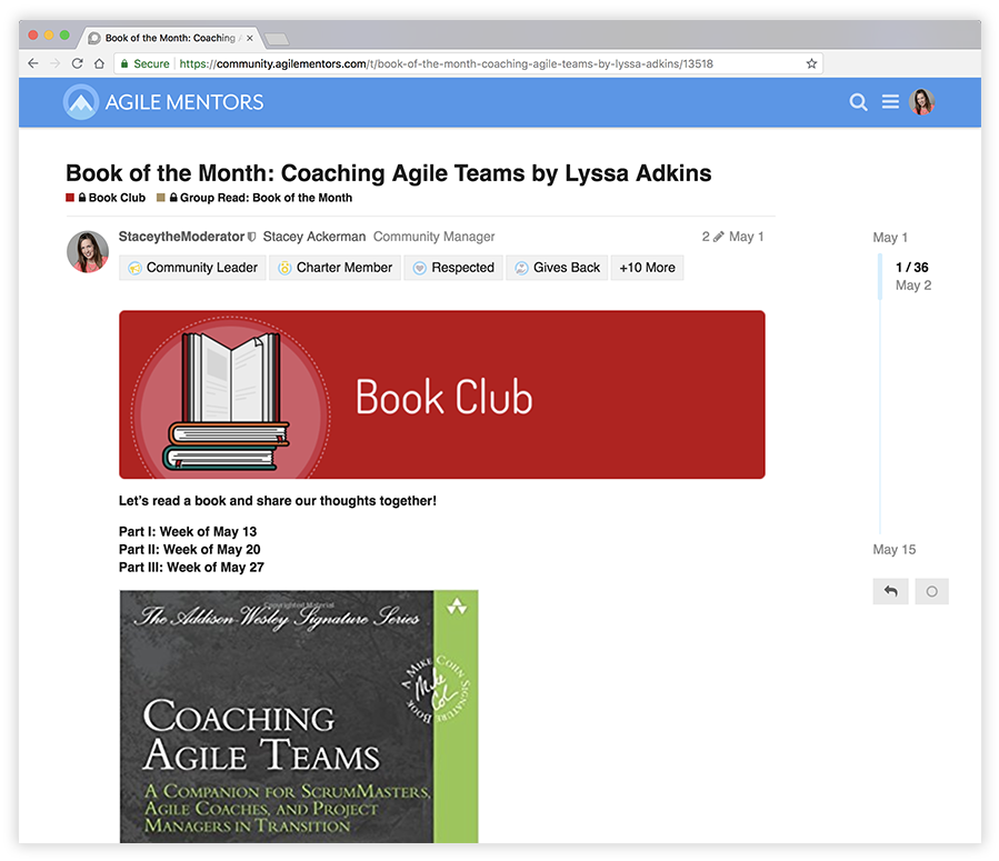 browser window showing book club